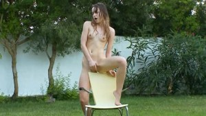 ultra sexy brunette on the outdoor