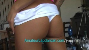 Sporty teen lapdancing