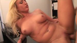 Hot & horny blonde slut sucks & fucks boss s dick in the office