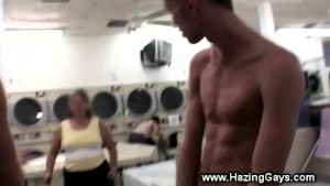 College boys wank in supermarket for initiation