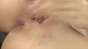 Skinny sexy brunette in heels strips down & rubs pussy to orgasm