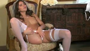 Sexy brunette wife Aspen Rae masturbates in her white lingerie