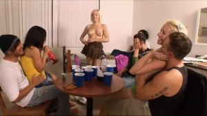 Dorm room party escalates into a rough group sex session