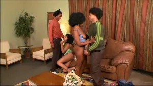 Sexy ebony babes start a threesome