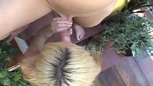 Skinny Blonde Shemale Rides Cock Like a Pro