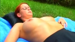Sexy Redhead Playing in the Feild - Sascha Production