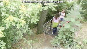 Cock-hungry brunette in public sex