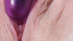 Blonde preggo uses purple vibe on juicy pussy