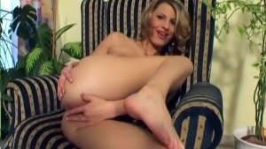 Cute skinny blonde playing with her shaved twat - Activ Studio
