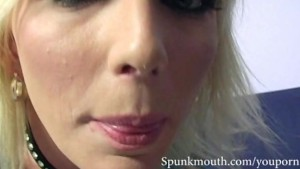 Hot Blonde Alexa Lynn sucks two cocks and gets a cum facial