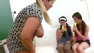 Older chubby teacher teaches her teen students lesbian sex in her office