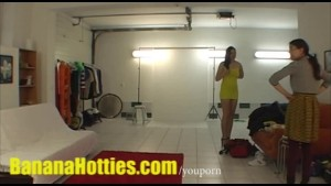 Sexy photoshoot and oil massage at the casting