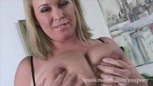 Giant Breasted babe Brandy Taylore pleasures cock and gets a healthy dose of cum in her pretty face