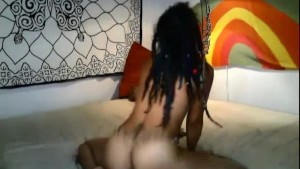 Sexy ebony girl with dreads goes wild on cam
