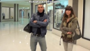 Brown cutie sucks cocks in the mall