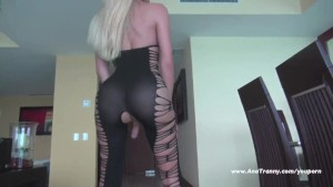 Ana Mancini s sexy black cat suit