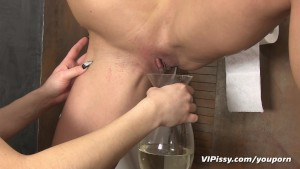 Kinky lesbian showers in fresh piss