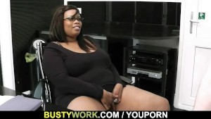 Big titted ebony fatty rides white dick