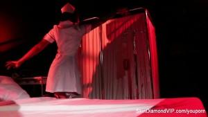 Creepy-Sexy nurse Skin Diamond dances and teases