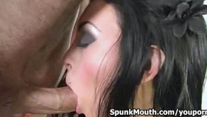 Horny pro stripper Jackie Daniels sucks cock for nasty creamy facial