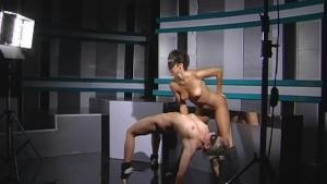 Two girls posing for nude gymnastics photo shooting
