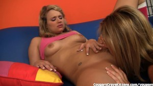 Hot MILF Teaches Teen Girl To Lick Pussy
