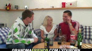 Partying guys screw blonde granny