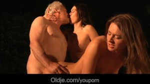 Lucky grandpa fucks with two hot beauties