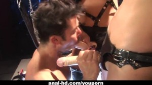Two Asian femdoms peg their ass slave on a swing
