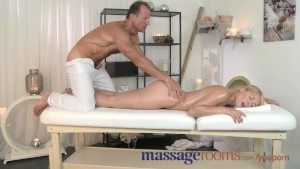 Massage Rooms Blonde with juicy peach bum gets her pussy filled with spunk