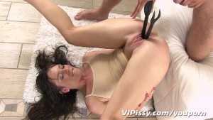 Pee soaked panties cling to her wet skin