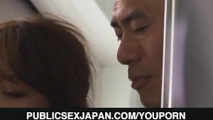 Yuki Kami is fucked in mouth at toilet