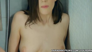 PARADISE FILMS Beautiful shaved pink pussy Teen Orgasms in the Shower