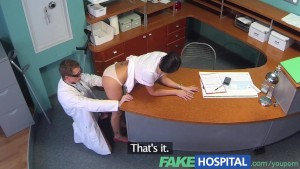 FakeHospital Dirty doctor gets his cock deep inside a sexy busty ex porn star during job interview