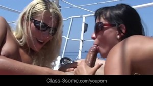 Rich horny dick fucking 4 slutty babes at seaside