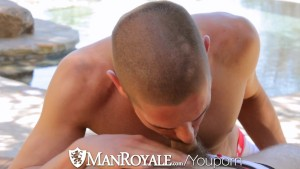HD - ManRoyale Cock sucking and ass fucking by the pool