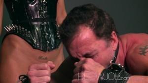 Blowjob BDSM big breasted Mistress sucks and fucks lucky subs big cock