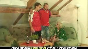 Granny football fan swallows two cocks