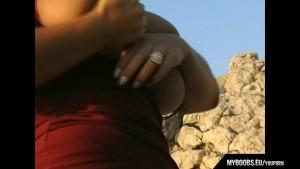 Aneta Buena huge tits on the wind