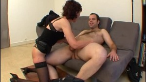 French mature Brigitte analfucked in stockings