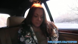 PublicAgent Sexy MILF Fucks a stranger in his car