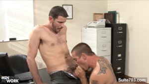 Tattooed gays screwing in the office