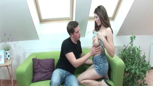 Sexy brunette with the best tits ever pleases her man