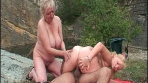 Old dude fucks his wife and hot blonde