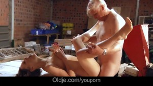 Old man pumps in doggy his cutie neighbor girl