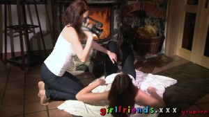 Girlfriends Horny lesbians get hot and wet by the fire