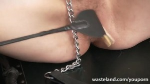 Slave girl has her pussy and nipples pegged by sexy Mistress