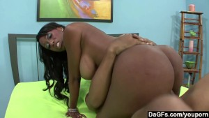 Busty ebony lady fucking her internet friend