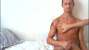 Cock massage to Luc a real straight guy !