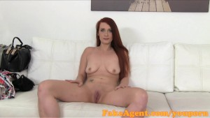 FakeAgent Horny red head babe gets spunk shower in Casting interview